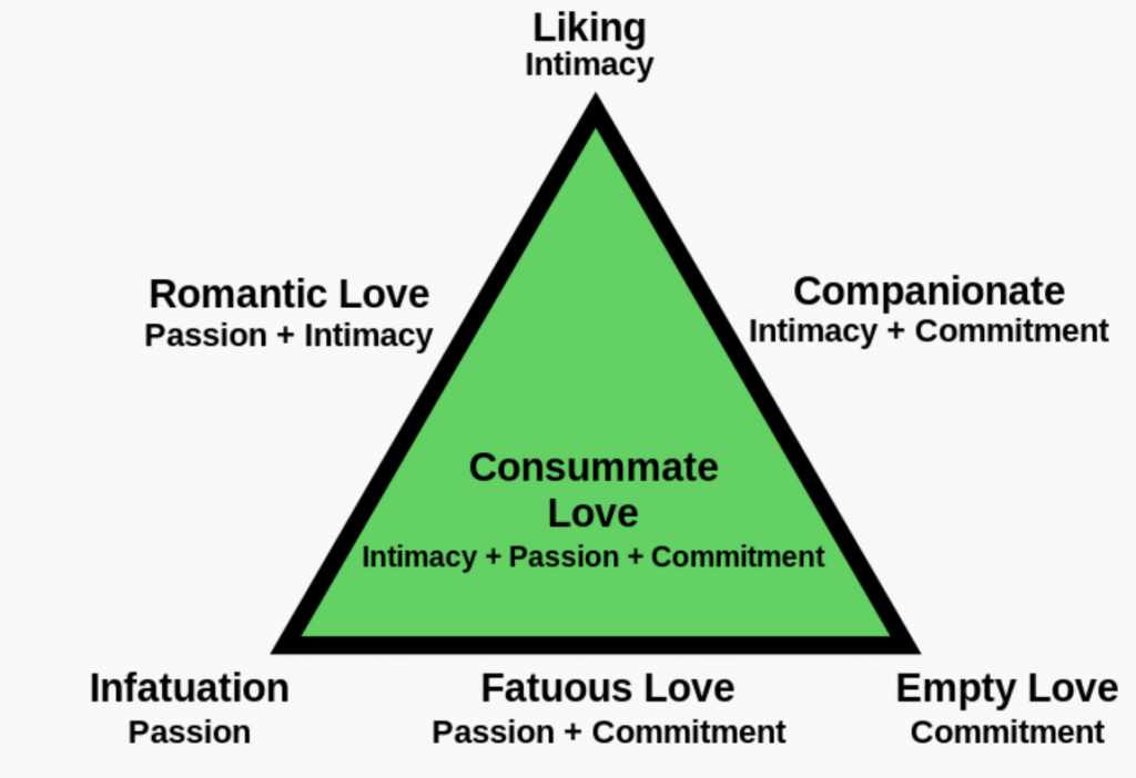 Sternberg's triangle of love: describes any relationships from romantic love to swingers sex